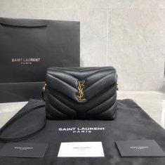 YSL Loulou Mini 20cm Crossbody Bag Black Gold