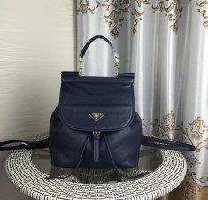 Prada Leather Backpack 1129 Navy Blue