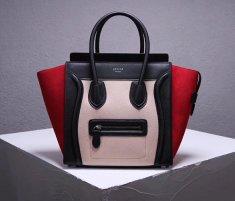 Celine Medium Luggage Tote Bag 26cm Black Nude Red