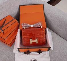 Hermes Constance 23cm Croco Leather Orange
